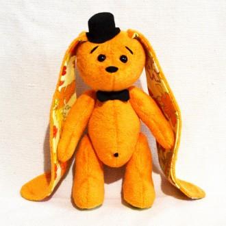 Мягкая игрушка из плюша хенд мейд  морковный зайка Рыжик. Киев. фото 1