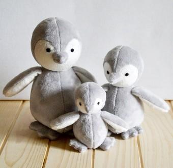 Мягкая игрушка из искусственного меха дружная семья пингвинов. Киев. фото 1