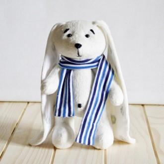 Мягкая игрушка  из плюша хенд мейд белый кролик Остап. Киев. фото 1
