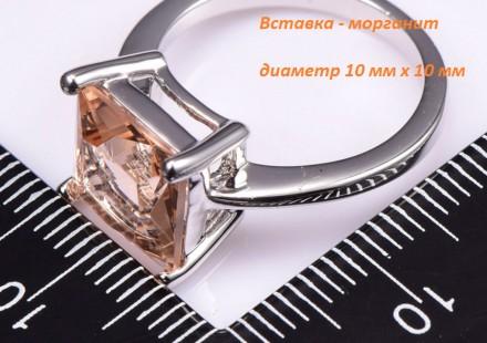 Кольцо стерлинговое серебро с морганитом. Днепр. фото 1