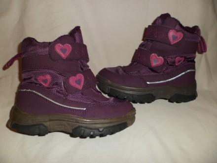 Детские термо ботинки ТСМ Tchibo на флиске 26-27р.- 18 см. темно-фиолетовые. Полтава. фото 1