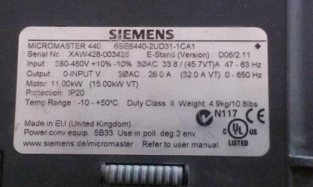 Преобразователь частоты Siemens Micromaster 440 6SE6440-2UD31-1CA1 11 кВт 380 В . Запорожье, Запорожская область. фото 5