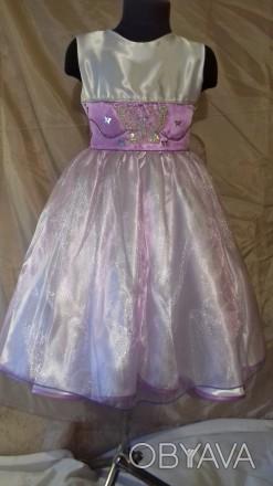 Нарядное платье на девочку 116-112 рост, пошитое из белого атласа и органзы нежн. Одесса, Одесская область. фото 1
