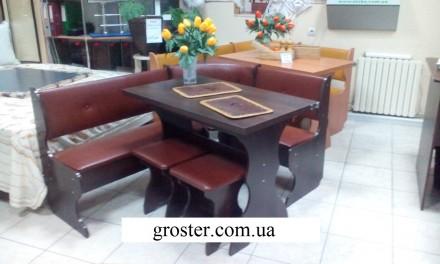 Кухонный уголок Барон кухонный стол, угловой диван, 2 табурета. Киев. фото 1