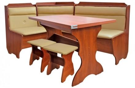 Кухонный уголок Кардинал кухонный стол раскладной, угловой диван, 2 табурета. Киев. фото 1