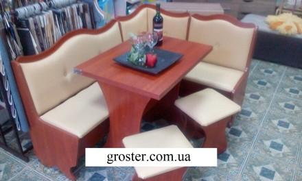Кухонный уголок Герцог кухонный стол раскладной, угловой диван, 2 табурета. Киев. фото 1