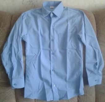 Детская голубая рубашка в школу. Котовск. фото 1