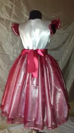 Нарядное платье на девочку 128 см рост. Юбка пошита из органзы бордового цвета, . Одесса, Одесская область. фото 3