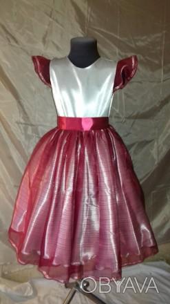 Нарядное платье на девочку 128 см рост. Юбка пошита из органзы бордового цвета, . Одесса, Одесская область. фото 1