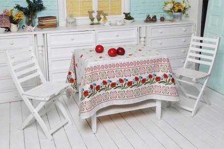 Скатерти на столы, маки, рябина, подсол, рогожка, хлопок, размеры. Кривой Рог. фото 1