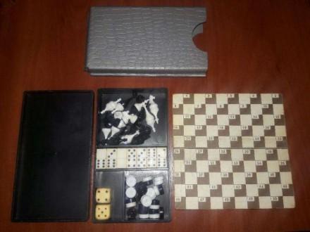 Советский игровой наборчик шашки, шахматы, домино. Чернигов. фото 1