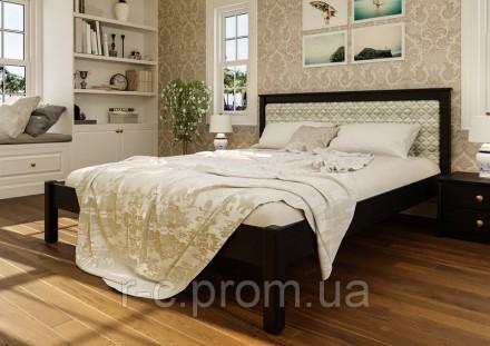 Кровать деревянная двуспальная Модерн М с мягким изголовьем.. Чернигов. фото 1