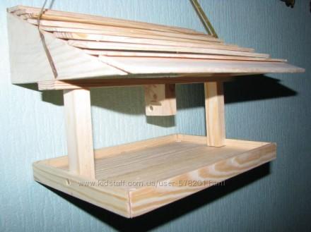 Кормушка деревянная односкатная. Чернигов. фото 1