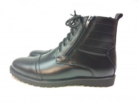 Ботинки мужские, кожаные. Б5453. 40-45р. Высокие. Шнурок и молния.. Каменское. фото 1