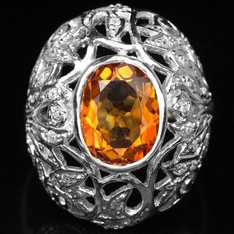 Кольцо 925 природный цитрин, цирконий.. Кропивницкий. фото 1