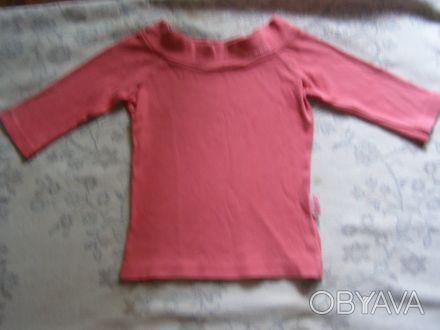 Классная стильная розовая футболка.По вороту-вышивка.Рукав укороченный. длина-3. Никополь, Днепропетровская область. фото 1
