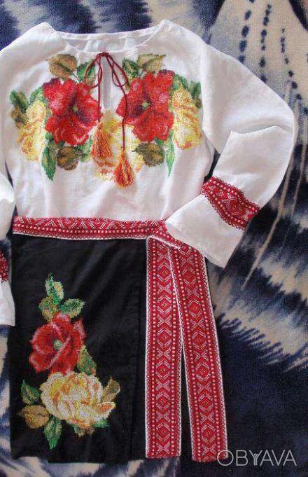 Детская вышиванка-комплект «Маки и розы» белая рубашка, черная юбка, 100% лён =1. Днепр, Днепропетровская область. фото 1