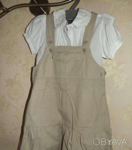Продам комплект сарафанчик + блузка .В отличном состоянии. 100% соtton .Размер 3. Днепр, Днепропетровская область. фото 1