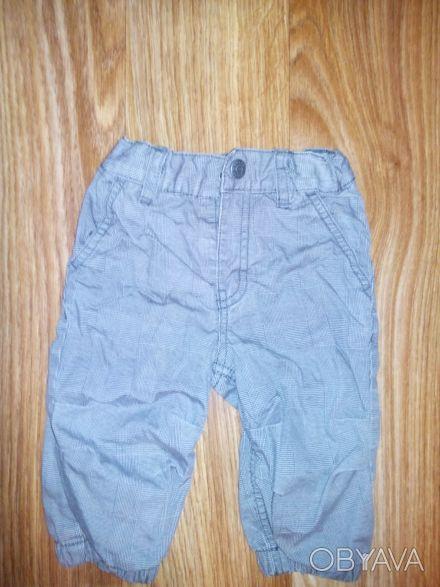модные брюки H&M 4-6 мес, 68 см.  Очень симпатичные брюки серого цвета в тонкую. Днепр, Днепропетровская область. фото 1