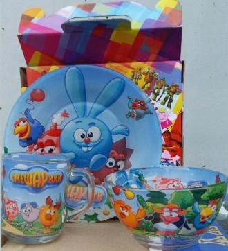 Стеклянная детская посуда Смешарики. Переяслав-Хмельницкий. фото 1