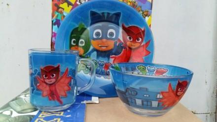 Набор детской посуды из стекла Герои в масках. Переяслав-Хмельницкий. фото 1