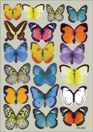 Интерьерная наклейка на стену бабочки 3д 3D разноцветные (набор h1-002). Переяслав-Хмельницкий. фото 1