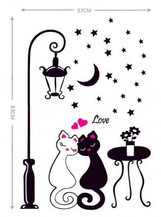 Интерьерная наклейка на стену Влюбленные коты (DM57-0099). Переяслав-Хмельницкий. фото 1