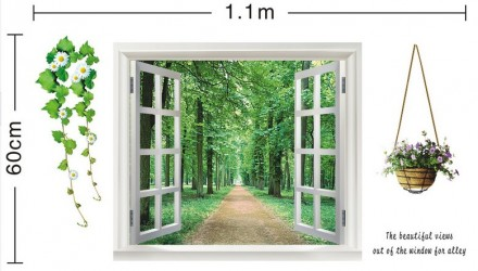 Интерьерная наклейка Распахнутое окно (ay823). Переяслав-Хмельницкий. фото 1
