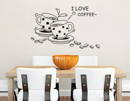 Интерьерная наклейка на стену Кофе (JM8268). Переяслав-Хмельницкий. фото 1