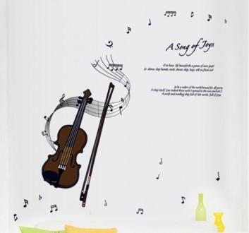 Интерьерная наклейка на стену Скрипка (ay7180). Переяслав-Хмельницкий. фото 1