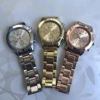Женские металлические часы золотые, розовые, серебристые Geneva. Киев. фото 1