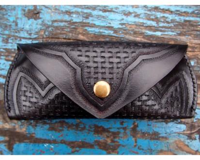 Кожаный футляр для очков черный. Одесса. фото 1