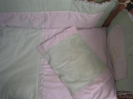 Защита на детскую кроватку с одеялом и подушкой. Киев. фото 1