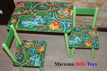 Детский стол и стул (столик) Городок (100 рисунков). Київ. фото 1