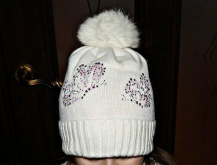 Очень красивая шапочка ТМ Jamiks для девочки. Цвет белый. 40% вискоза; 25% пол. Кропивницкий, Кировоградская область. фото 2