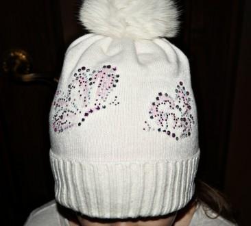 Очень красивая шапочка ТМ Jamiks для девочки. Цвет белый. 40% вискоза; 25% пол. Кропивницкий, Кировоградская область. фото 3