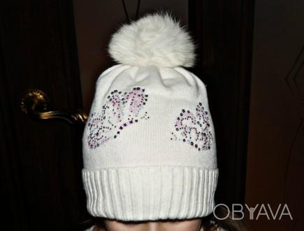 Очень красивая шапочка ТМ Jamiks для девочки. Цвет белый. 40% вискоза; 25% пол. Кропивницкий, Кировоградская область. фото 1
