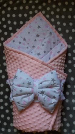 Конверт одеяло на выписку для новорожденных плюшевый Minky 90х80. Днепр. фото 1