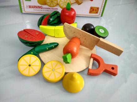 Цена снижена!!! Деревянные овощи и фрукты на магнитах. Киев. фото 1