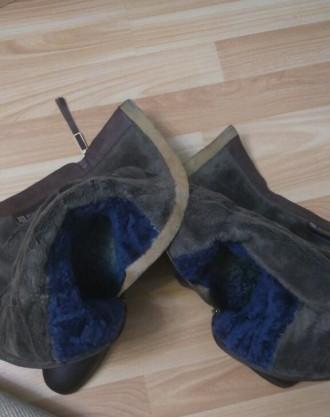 Сапоги женские из натуральной кожи, мех натуральный, зимние, европейка, коричнев. Мелитополь, Запорожская область. фото 7