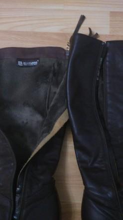 Сапоги женские из натуральной кожи, мех натуральный, зимние, европейка, коричнев. Мелитополь, Запорожская область. фото 6