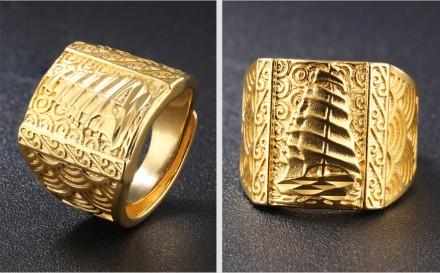Перстень Печатка Кольцо с Парусом под золото мужское. Херсон. фото 1
