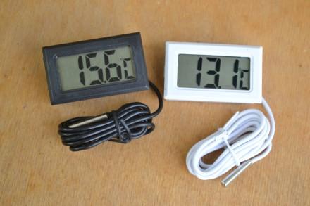 Цифровой термометр с ЖК дисплеем от -50 до +110 градусов белый. Каменец-Подольский. фото 1