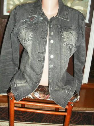 Серый джинсовый пиджак с камнями. Попільня. фото 1