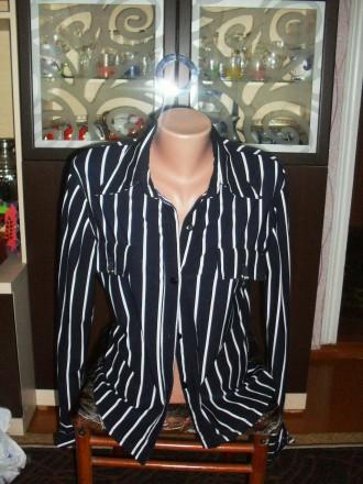 Блуза синяя в белую полоску. Попельня. фото 1