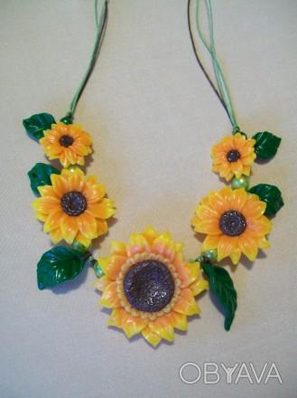"""Ожерелье """"Подсолнухи"""" Живые солнышки собраны в ожерелье. Сочная зелень листьев п. Чернигов, Черниговская область. фото 1"""