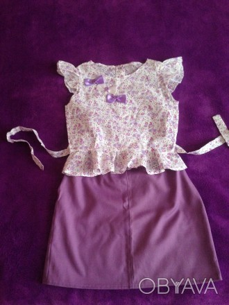 блузка и юбка,рост 120,длинаюбки35,талия 60,длина блузки35. Кривой Рог, Днепропетровская область. фото 1