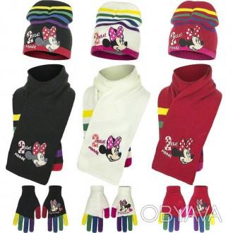 Набор шапка, шарф, перчатки, для девочки. Производитель Disney.  Очень яркие, к. Винница, Винницкая область. фото 1