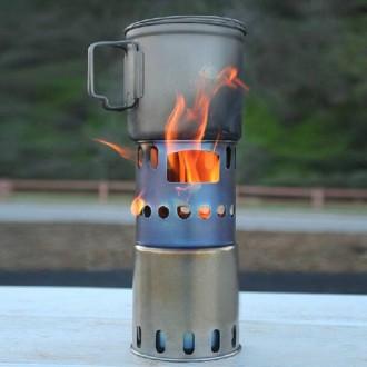 Титанова пічка щепочниця. Титановая печка щепочница TOAKS (большая) Титан.. Львов. фото 1