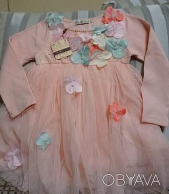 Платье  написано на 120 см, но оно маломерка. Длина платья  53 см, длина рукав. Киев, Киевская область. фото 1